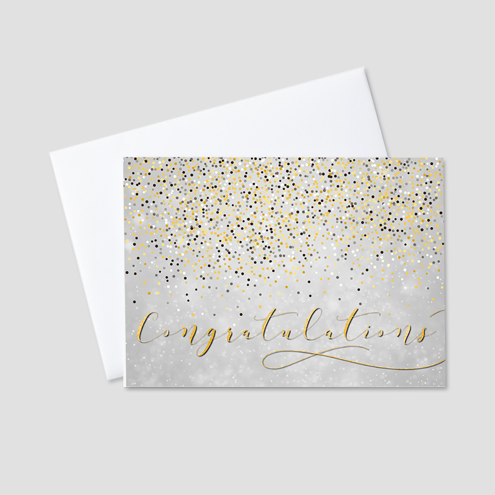 Company Congratulations Greeting Card with falling gray, white, black, and yellow confetti on top of a rich, gray colored background and a script golden Congratulations message.