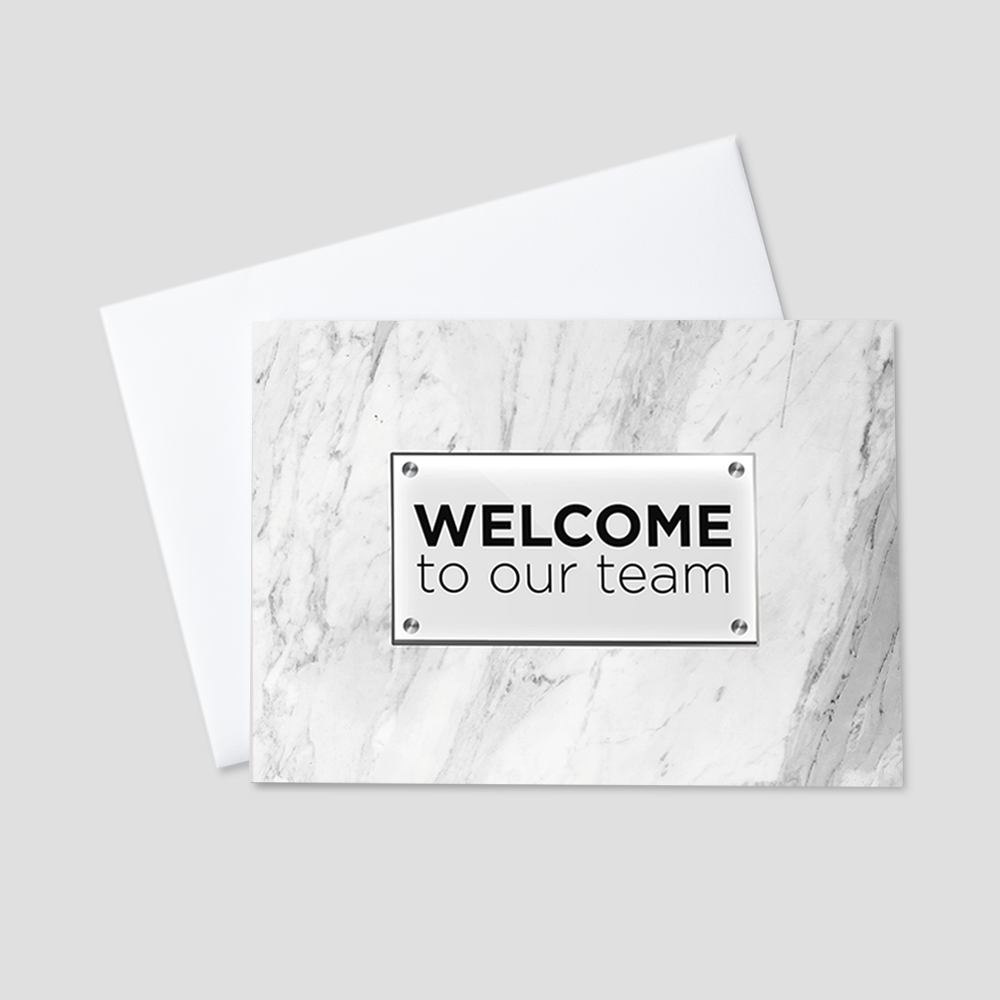 Business Welcome Greeting Card featuring a white, gray, and black marbled background behind a welcome to our team message on a graphic designed plaque.