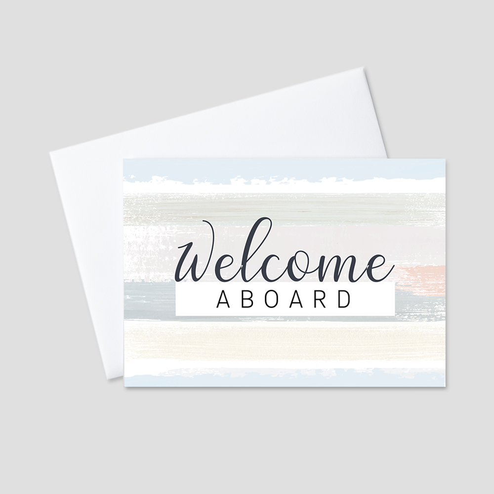 Company Welcome Greeting Card featuring a brush stroke background with shades of tan, blue, green, orange, and yellow complementing a welcome aboard message.