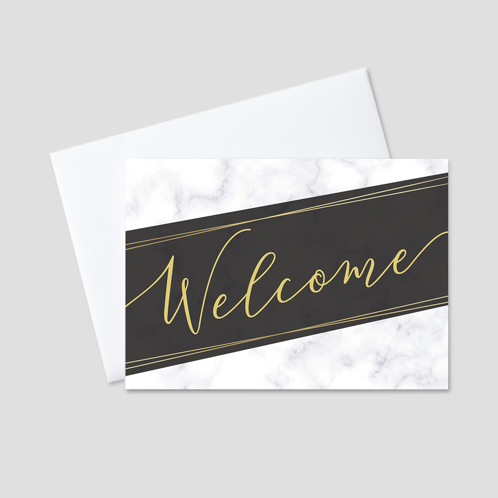 Professional Welcome Greeting Card featuring a white, gray, and black marbled background with a script Welcome message bordered by gold and black designs