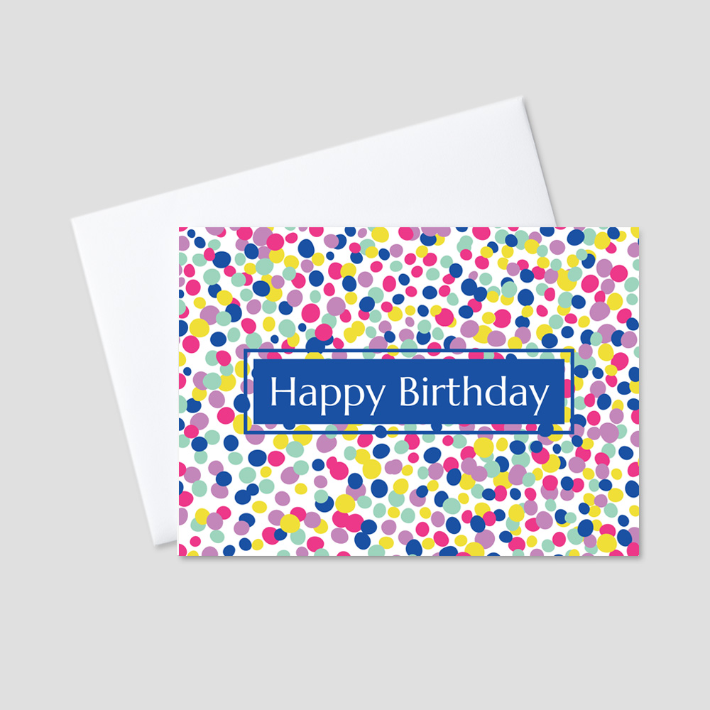 Business Birthday Greeting card featuring a Happy Birthday message standing out from a royal blue background amidst a picture of brightly colored pastel dotted confetti