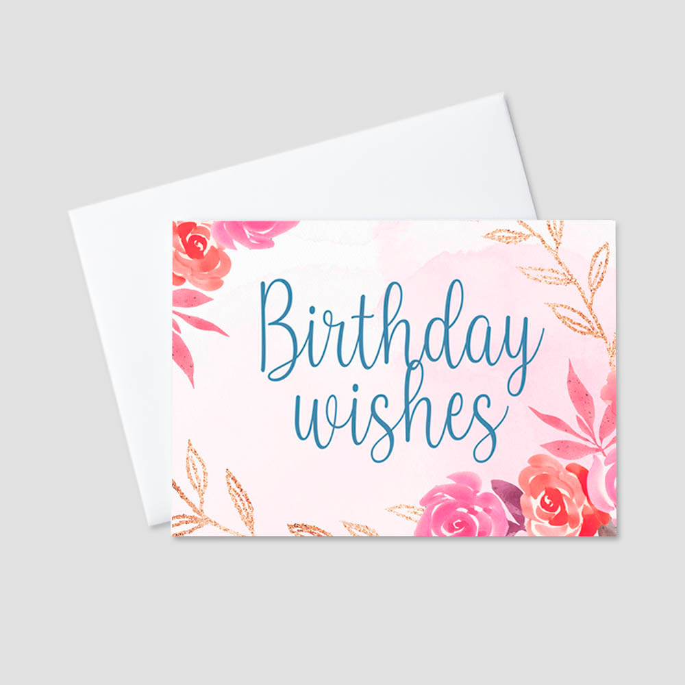 Employee Birthday Greeting card featuring a blue script birthday wishes message on a soft pink background surrounded by graphic design floral arrangements