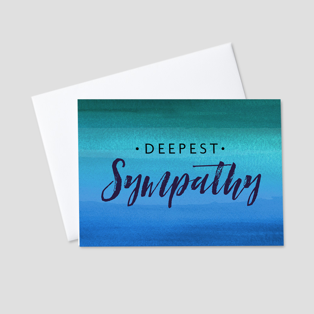 Company Sympathy Greeting Card featuring a deepest sympathy message in alternating block and script font on top of a sea of deep blue and green colors