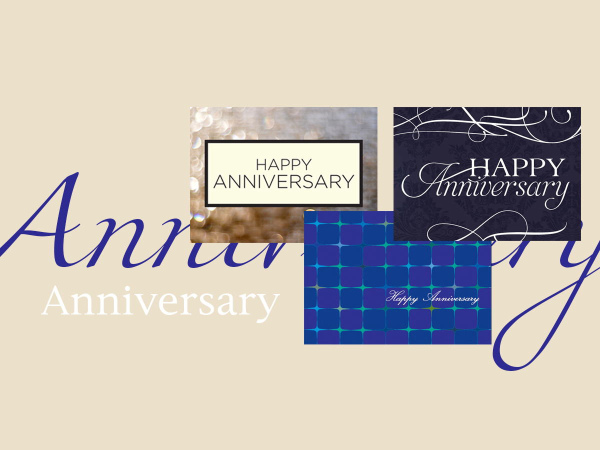 Anniversary banner featuring three top-selling anniversary greeting cards