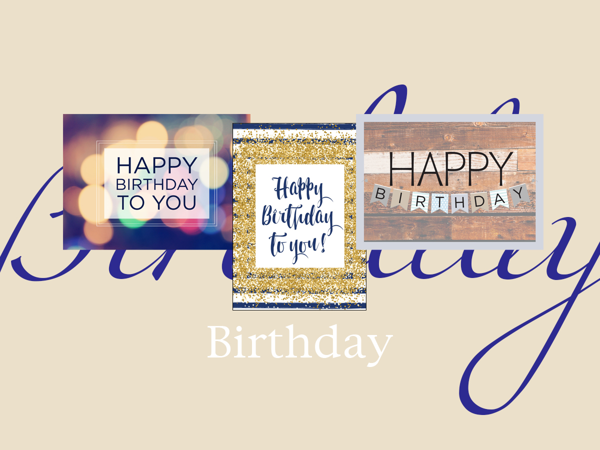 Birthday banner featuring three top-selling birthday greeting cards
