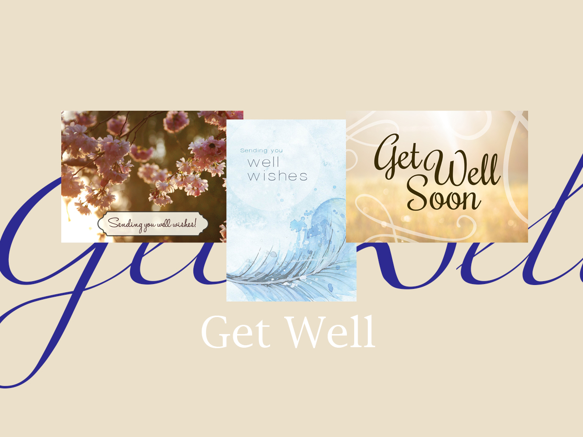 Get Well banner featuring three best-selling Get Well greeting cards