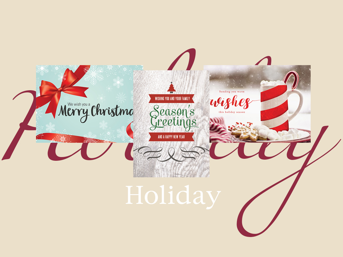 Holiday banner featuring three top-selling holiday greeting cards