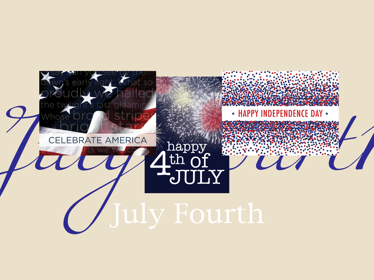 July Fourth banner featuring three top-selling July Fourth cards