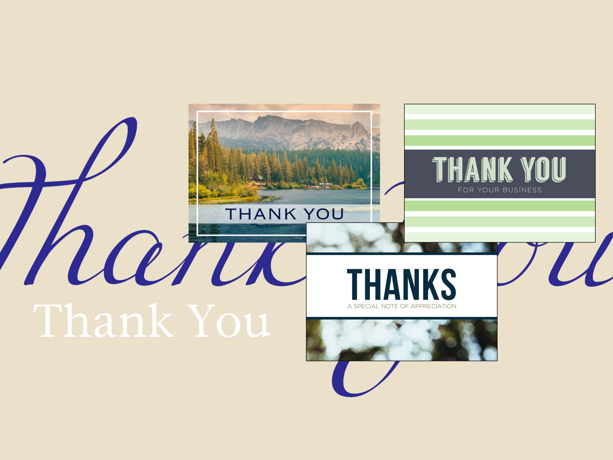 Thank you banner featuring best-selling thank you greeting cards