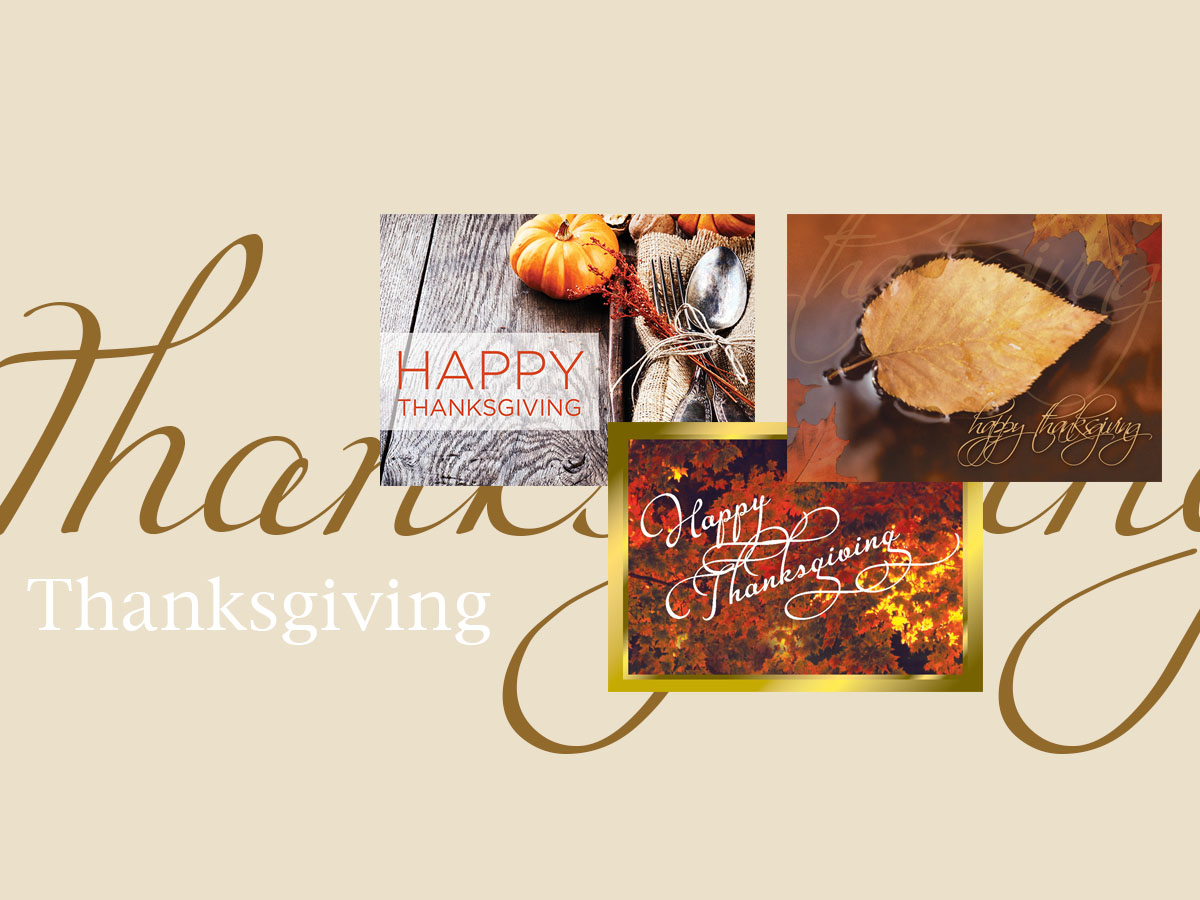 Thanksgiving banner featuring three top-selling Thanksgiving greeting cards