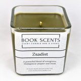 Zsadist Brotherhood scented candle made with clean burning coconut wax in a sexy evergreen, musk and pepper scent.