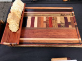 Appetizer Tray with Built in Cracker Boat and Embedded Random Pattern