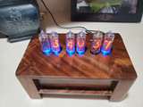 Claro Walnutl  IN14 Vertical mounted 6 bulb nixie clock
