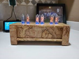Spalted Maple Burl  IN8 Vertical mounted 6 bulb nixie clock