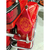 """#RFM-FXD1 with 6""""x9"""" USA highway flag  (shown with 13"""" pole and decorative topper) mounted on Harley saddlebag bar (not included)"""