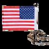 #RFM-FXD1 with 6x9 USA highway flag (shown on Harley Nostalgic guardrail)