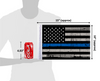 "10""x15"" USA Grunge Thin Blue Line flag (size comparison view)"