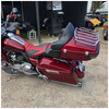 Cruzer Tour Pack (Hard Candy Hot Rod Red) with chrome latches.  Shown with optional hardware (tour pack rack and light kit no included) on Harley Street Glide