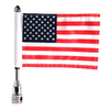 """Fixed, upright flag mount with 9"""" pole, standard cone topper & 6""""x9"""" highway flag (assembled)"""