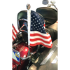 """7/8"""" Fixed, upright mount with 13"""" pole, decorative topper and 10""""x15"""" USA flag on Harley license plate rail"""