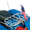 """3/8"""" Fixed, upright mount with 9"""" pole, standard cone topper and 6""""x9"""" USA flag on upper bar of Harley Nostalgic rack (rack not included)"""