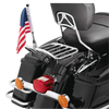 """5/8"""" Fixed, upright mount with 9"""" pole, standard cone topper and 6""""x9"""" USA flag on Harley two-up detachable rack (rack not included)"""
