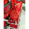 """3/4"""" Fixed, upright mount with 13"""" pole, decorative topper and 6""""x9"""" flag on Harley saddlebag guard rail"""