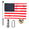 """Folding flag mount with 9"""" pole, standard cone topper & 6""""x9"""" highway flag (components)"""