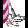Folding flag mount - push button to fold (toward bike)
