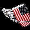 Folding flag mount on HD Tour Pak Rack folded toward bike