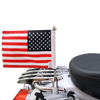 """7/8"""" split, horizontal mount with 9"""" pole, standard cone topper and 6""""x9"""" USA flag on Harley Stealth Rack (rack not included)"""