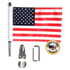 """7/8"""" split, horizontal flag mount with 9"""" pole, standard cone topper & 6""""x9"""" highway flag (components)"""
