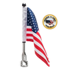 """7/8"""" split, horizontal flag mount with 9"""" pole, standard cone topper & 6""""x9"""" highway flag (assembled)"""