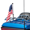 """Polished Stainless version:  1/2"""" Fixed, extended horizontal mount with 9"""" pole, standard cone topper and 6""""x9"""" USA flag on Harley Tour Pack Rack (rack not included)"""