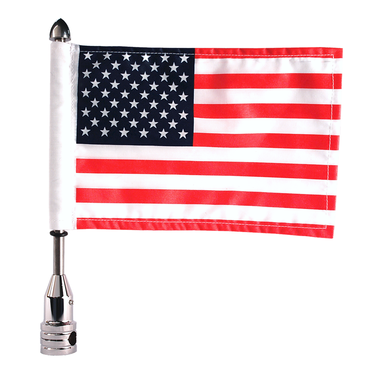 "#RFM-FXD3 with 9"" pole, standard cone topper & 6""x9"" highway flag"