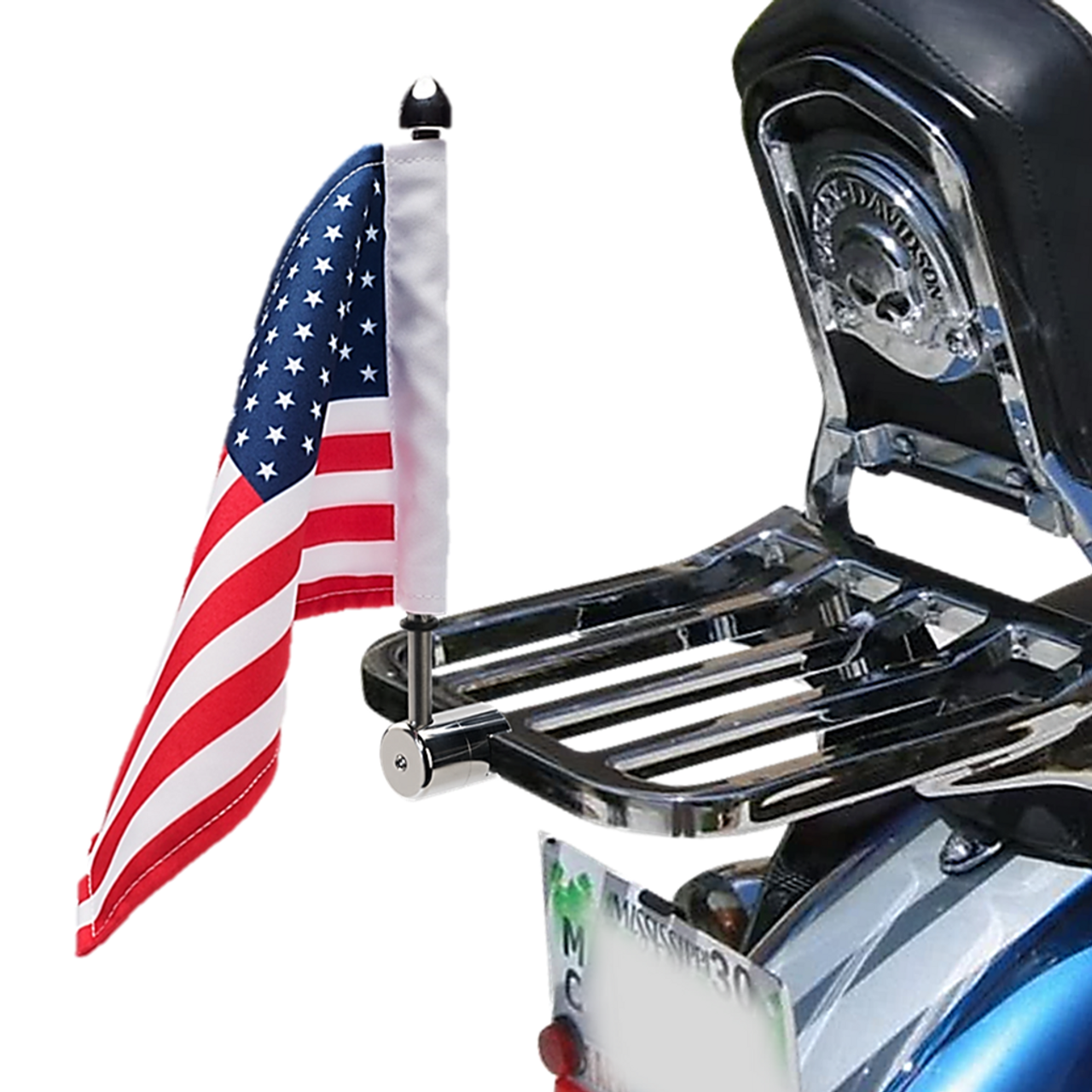 #RFM-SQ with 6x9 USA highway flag mounted on Harley square sport rack (rack not included)