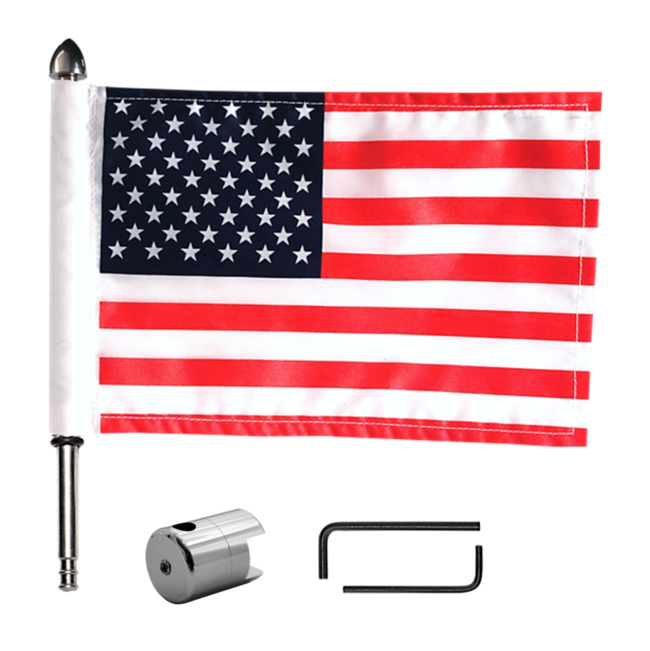 """#RFM-SQ with 6""""x9"""" flag, 9""""pole with standard cone topper, base & hex keys for Harley sport rack (components)"""