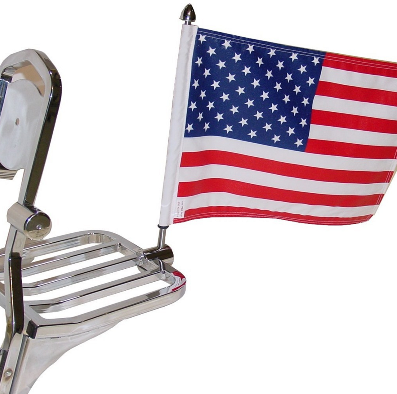 """#RFM-SQ15 with 10""""x15"""" USA Parade flag mounted on Harley sport rack (rack not included)"""