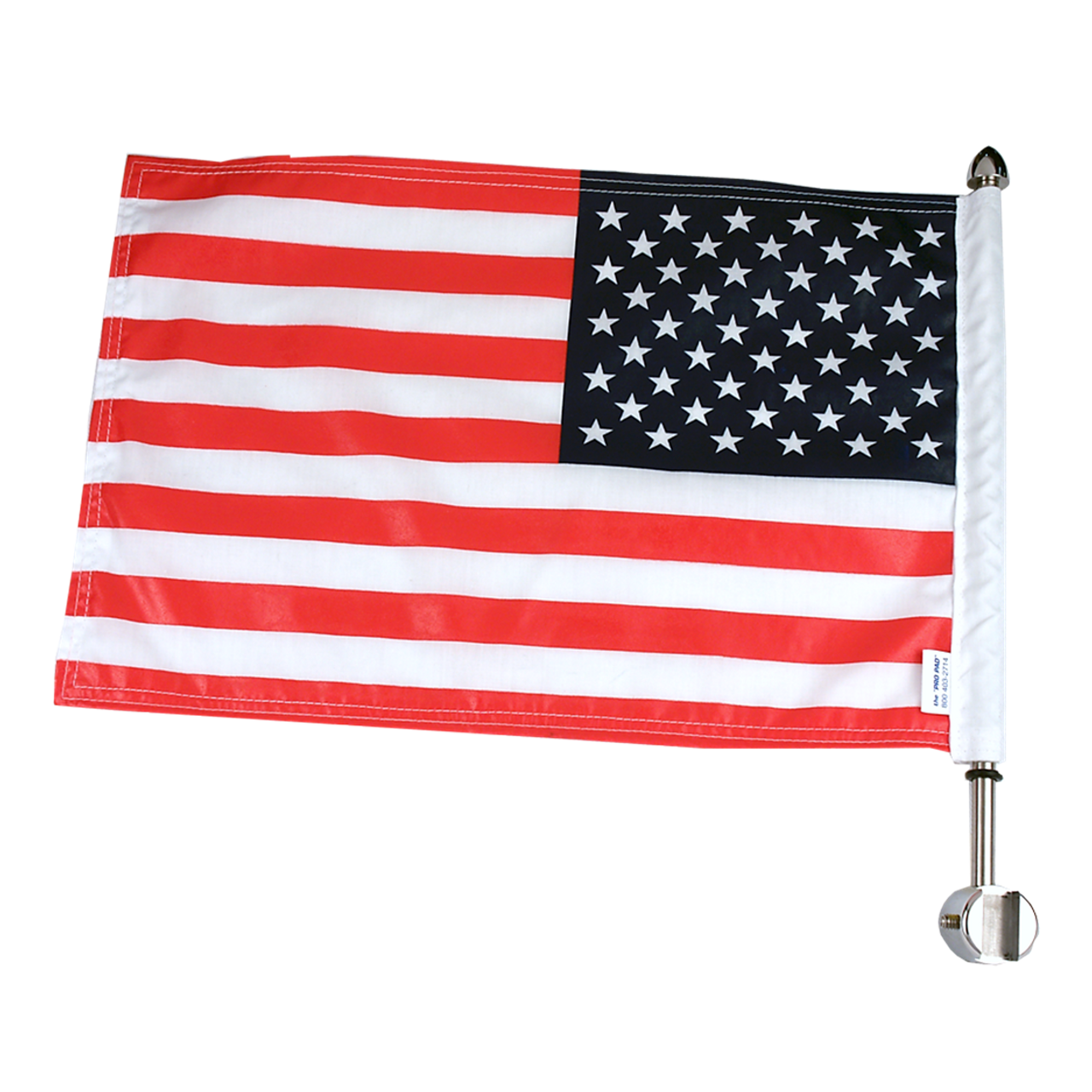 "#RFM-SQSB15 with 10x15 USA parade flag, 13"" pole and standard cone topper (for square Harley Sissy bar)"