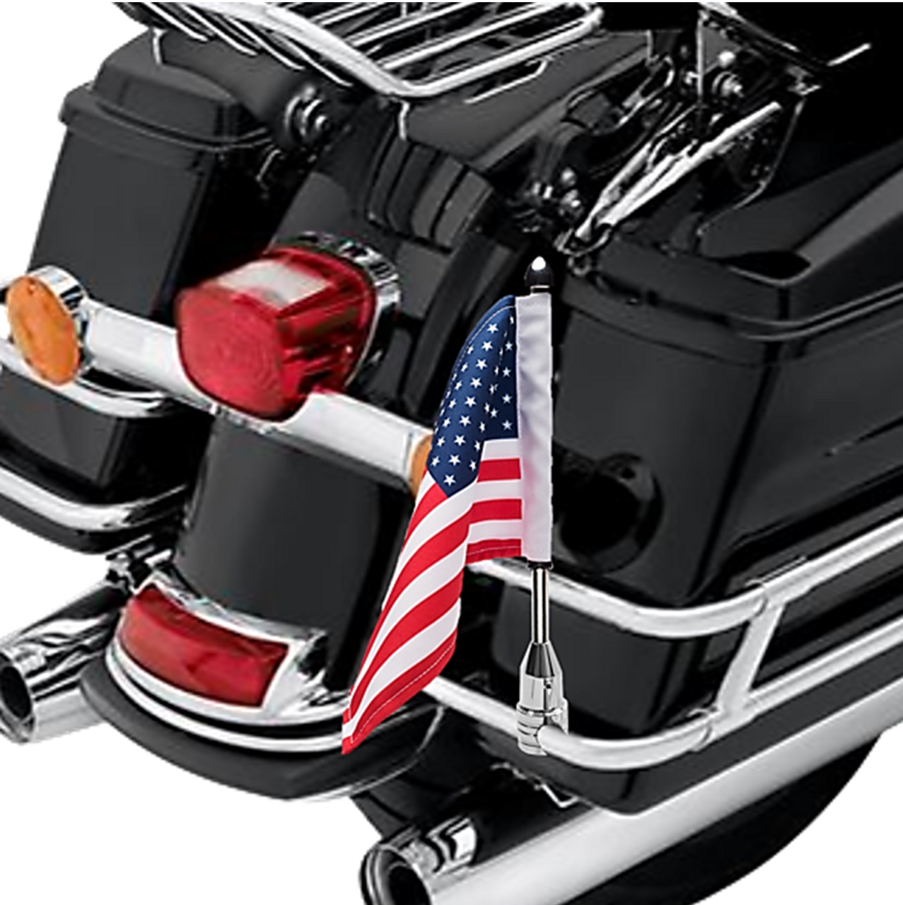 """#RFM-FXD1 with 6""""x9"""" USA highway flag mounted on Harley saddlebag bar (not included)"""