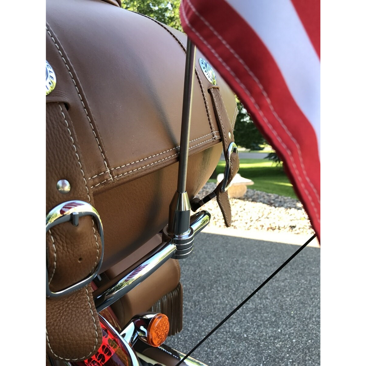 """#RFM-FXD1 mounted on Indian Roadmaster Classic trunk bar (shown with 6""""x9"""" flag on 15"""" pole; purchased separately)"""