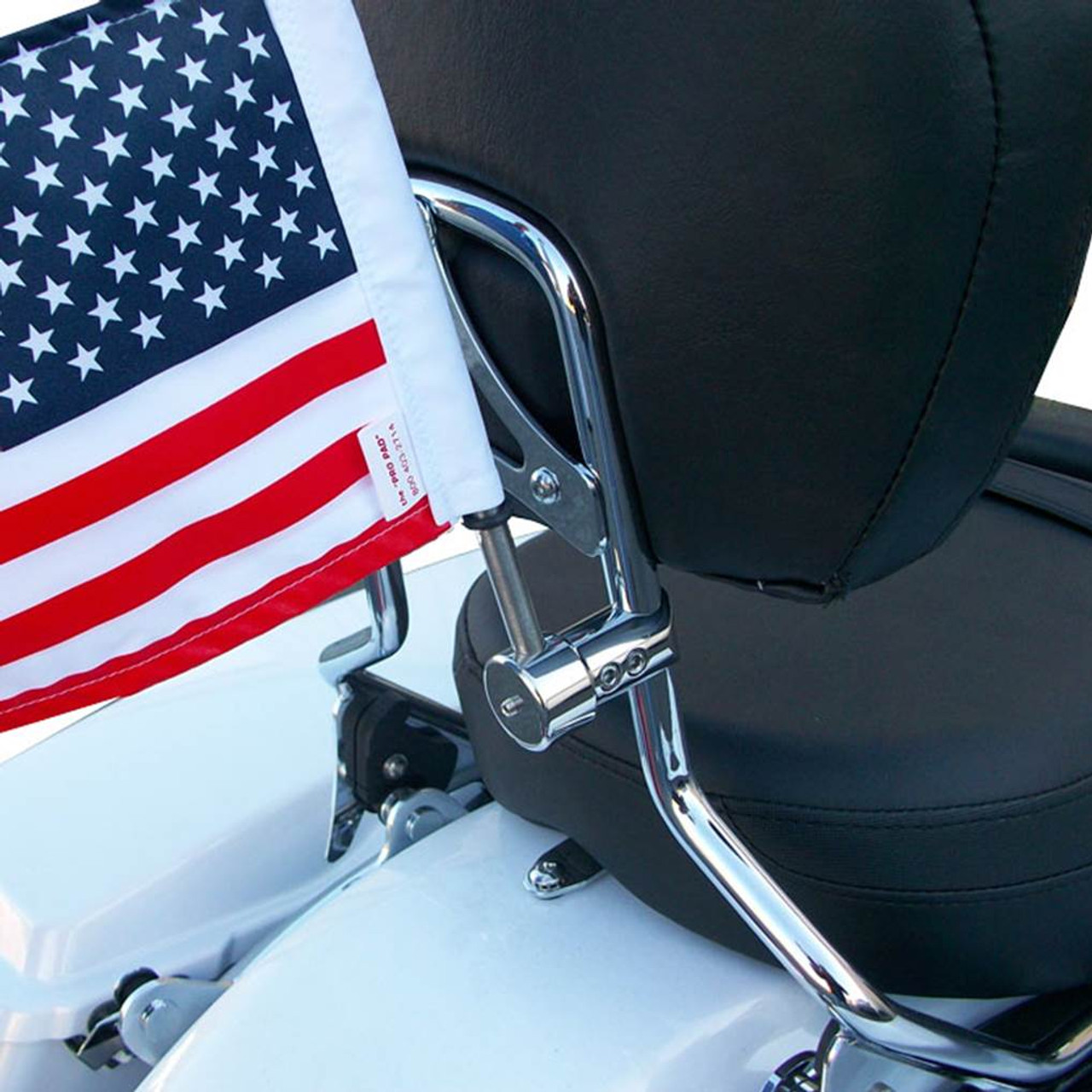 RFM-RDSB5 with 6x9 USA highway flag mounted on Harley sissy bar
