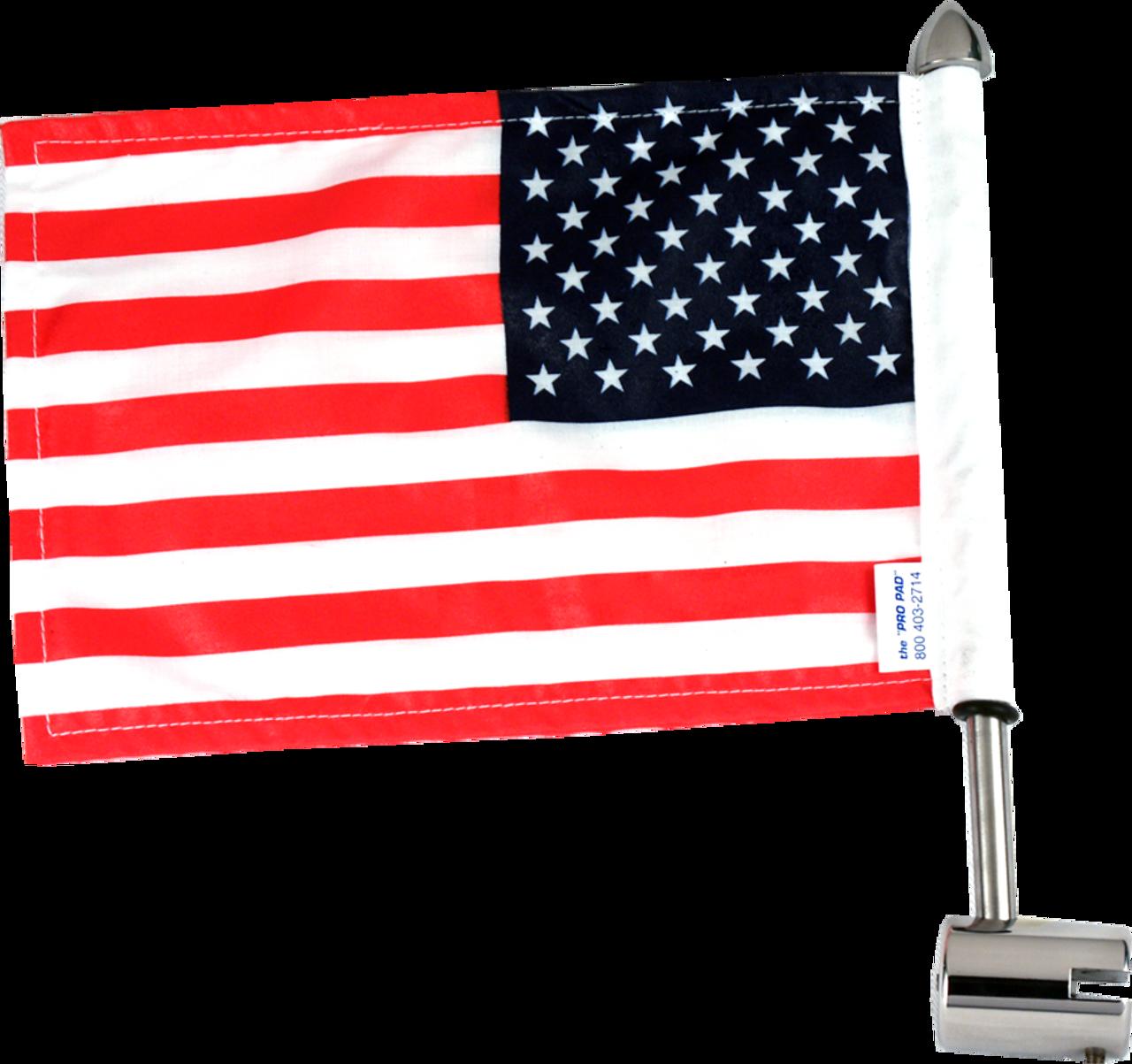 Kuryakyn Chrome Antenna Flag Mount With American Flag for Honda Goldwing GL1500