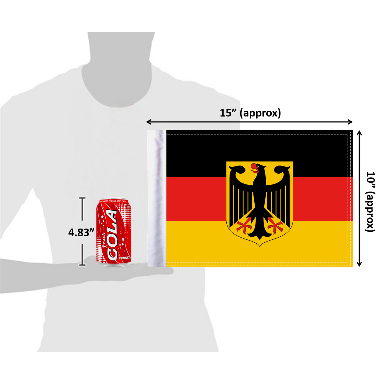 10x15 Germany with Coat of Arms flag (size comparison view)