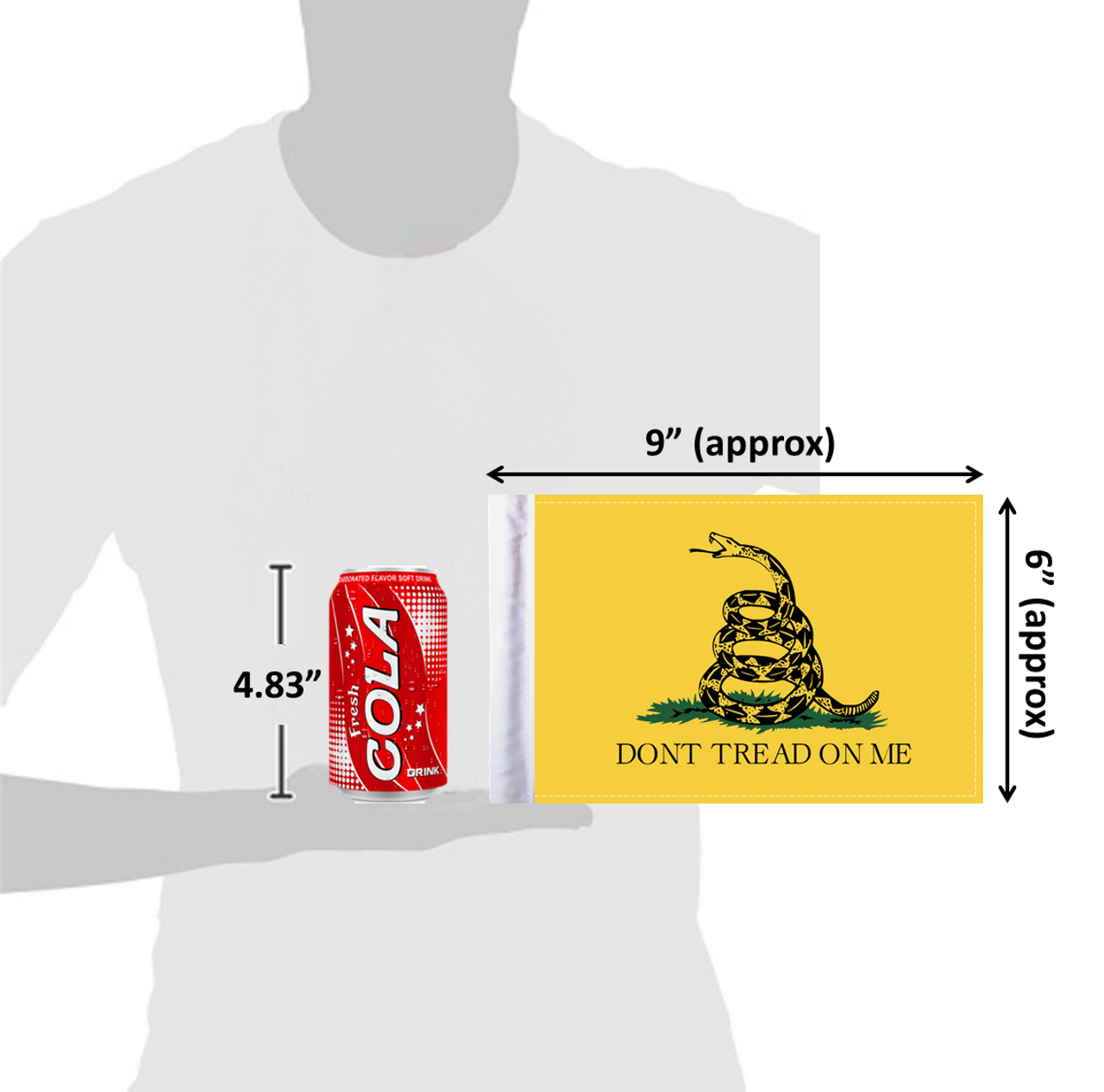 6x9 Gadsden Don't Tread on Me flag (size comparison view)
