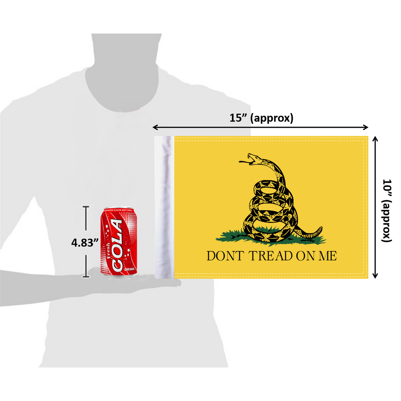 10x15 Gadsden Don't Tread on Me flag (size comparison view)