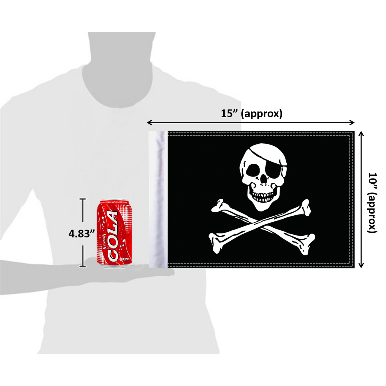 """10""""x15"""" Jolly Roger flag (size comparison view)"""