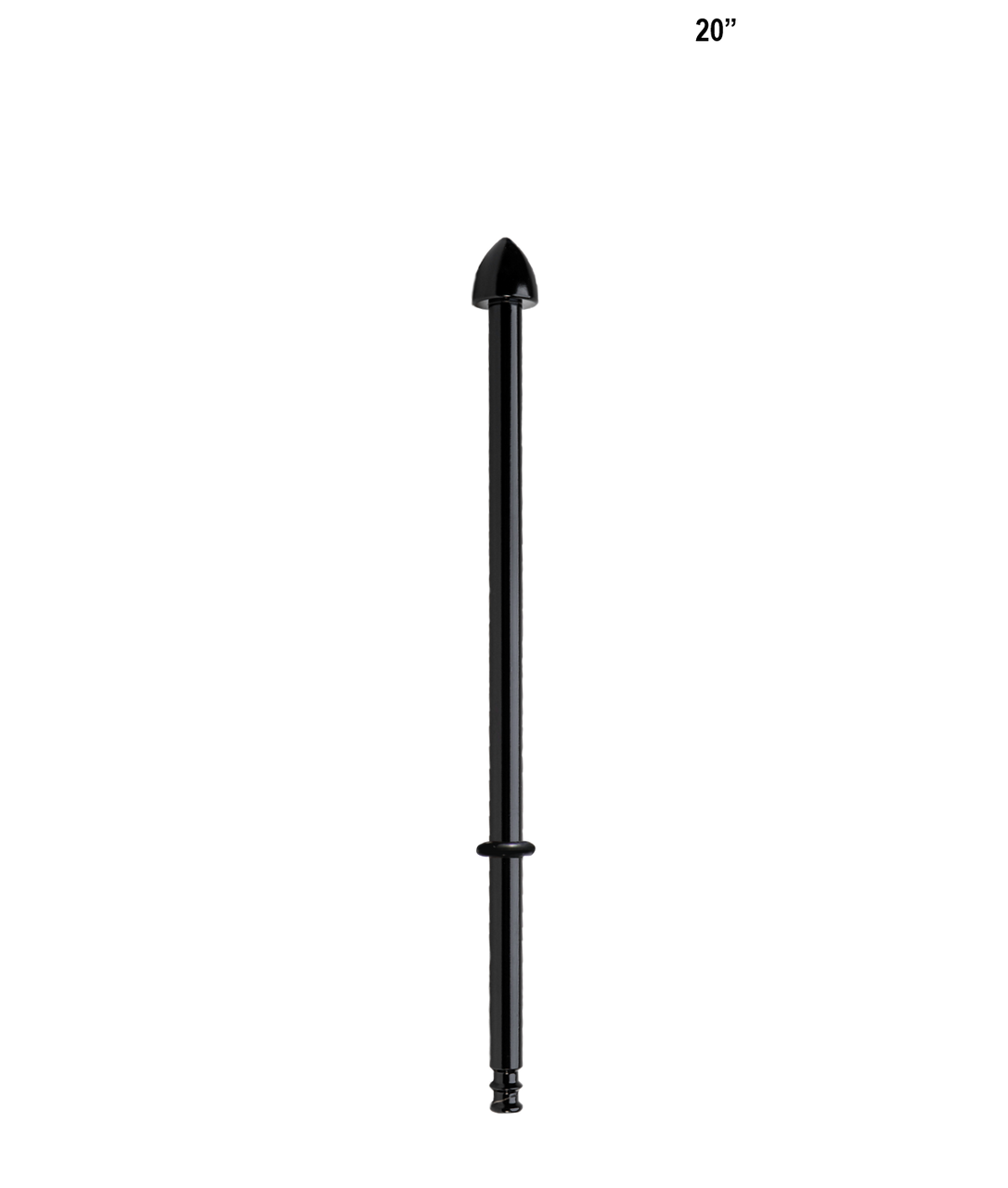 POLE-9; 9-inch pole with standard cone topper and rubber o-ring (Gloss Black)