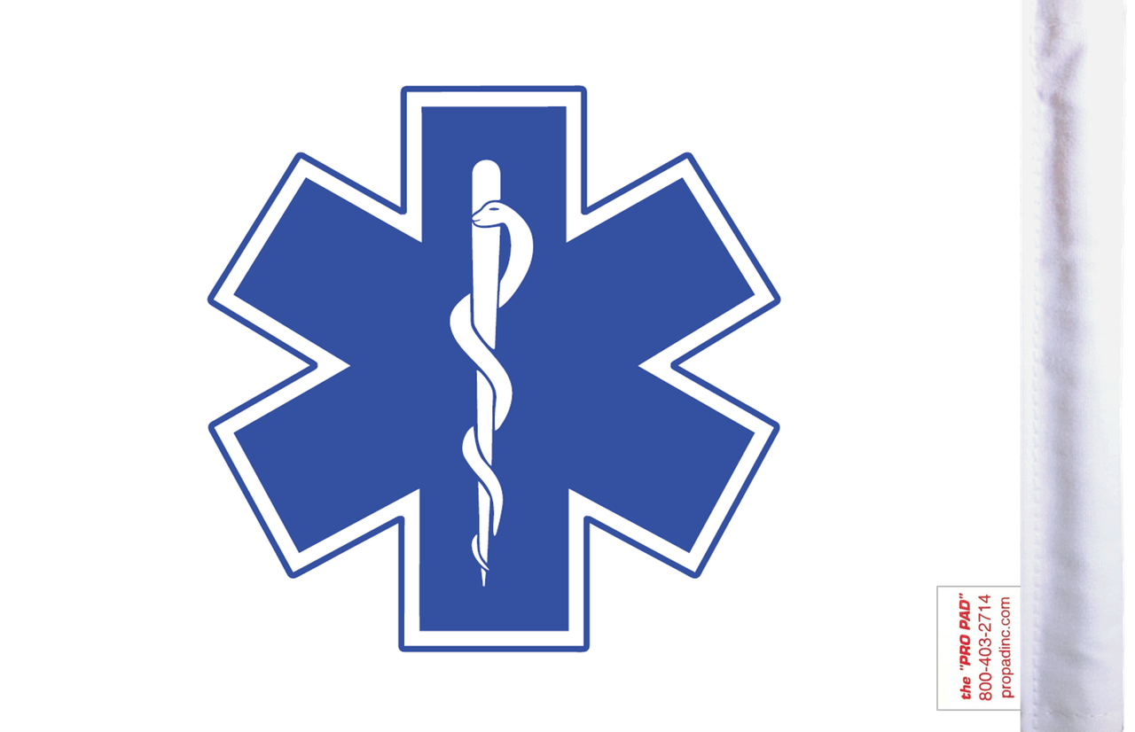 FLG-EMS  Star of Life 6x9 flag (BACK)