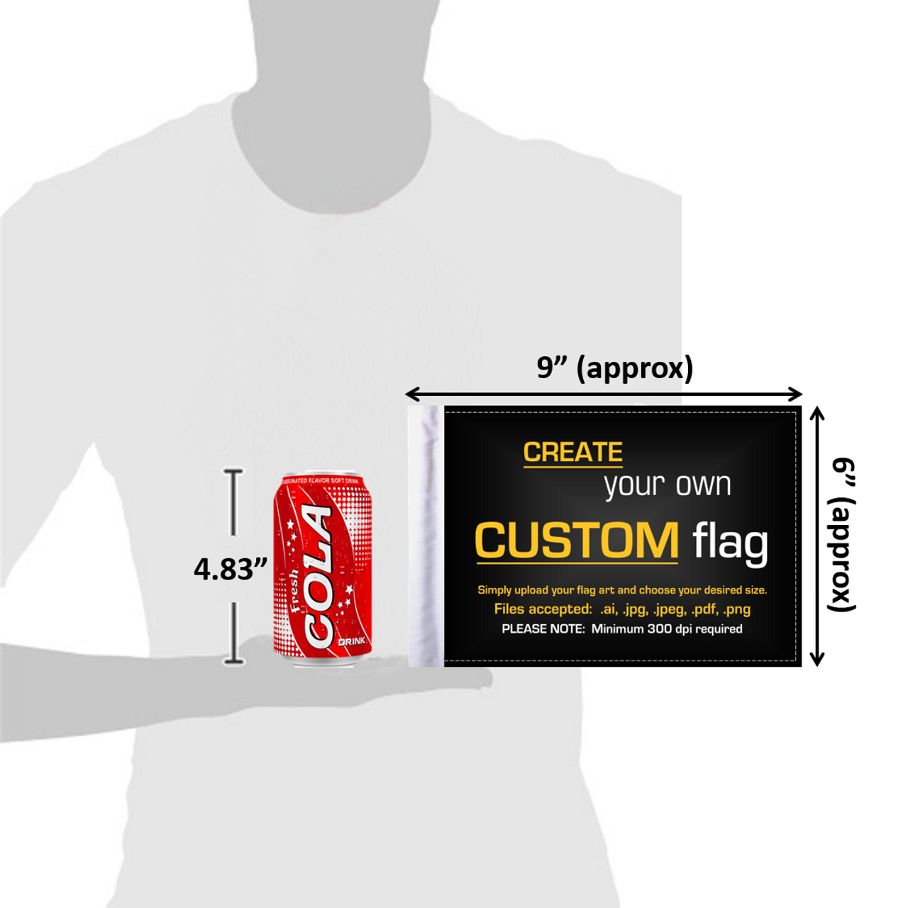 """6""""x9"""" Custom highway flag (size comparison view)"""